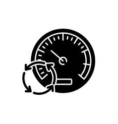 Pressure gauge black glyph icon vector