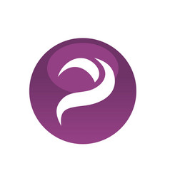 purple circle with letter p symbol icon logo vector image