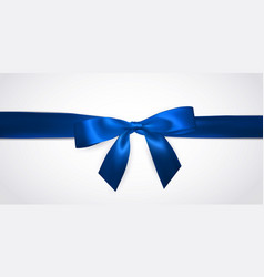 Realistic blue bow with horizontal ribbon vector