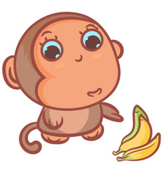 Ripe bananas with little monkey vector