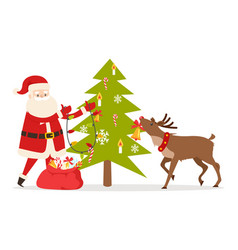Santa claus and big reindeer decorate fir tree vector