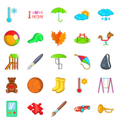 School games icons set cartoon style vector