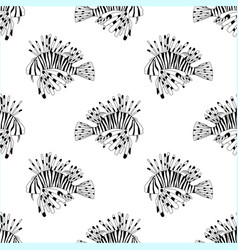 Seamless pattern from black and white lion fish vector