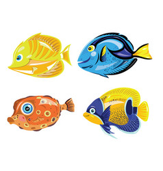 set cartoon fish collection cute colored vector image