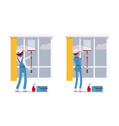 set of male and female janitor window cleaning vector image