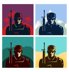 Soldier badges or avatars set Silhouette with vector