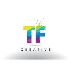 tf t f colorful letter origami triangles design vector image
