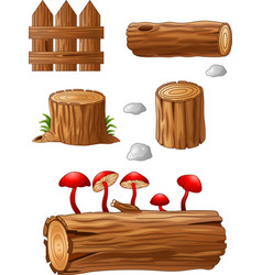 Timber and stump cartoon vector