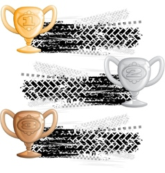 Tire track banners with cups vector