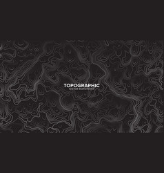 Topographic contour map dark black and white vector