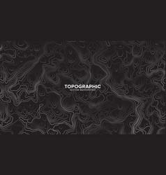 topographic contour map dark black and white vector image