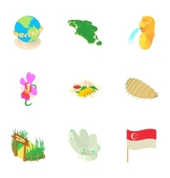 Tourism in Singapore icons set cartoon style vector