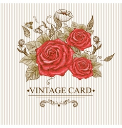 Vintage Floral Card with Roses and Butterflies vector image