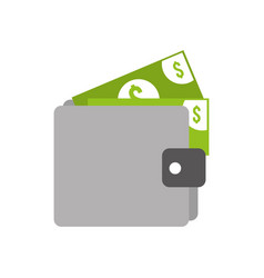wallet money banknote dollar cash pay vector image
