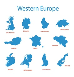 Western europe - maps of territories vector
