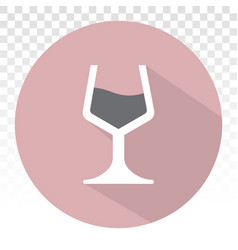 Wine glass with drink flat icon for apps vector