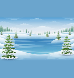 Winter landscape with frozen lake and fir trees vector