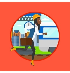 Woman running along the platform vector