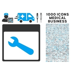 Wrench Tool Calendar Page Icon With 1000 Medical vector image