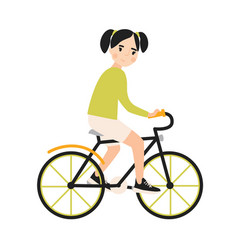 young cute smiling girl riding bicycle cheerful vector image