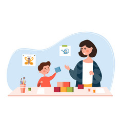 young mother is playing with her little son vector image