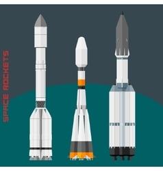 Russian space rockets set vector image vector image
