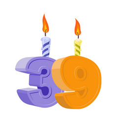 39 years birthday number with festive candle for vector image
