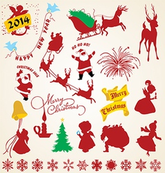 Christmas silhouettes icons pack vector image vector image