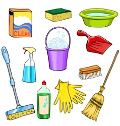 Cleaning supplies cartoon set vector image