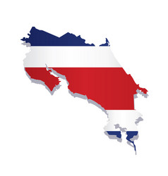 costa rica flag amp map vector image