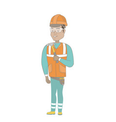 young hispanic carpenter holding a hammer vector image