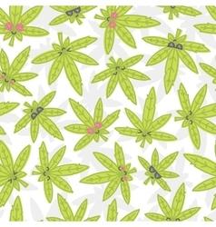 Cartoon kawaii weed seamless pattern white vector