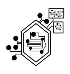 computer circuit hexagon electronic component vector image