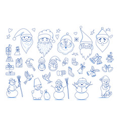 funny cartoon christmas collection element vector image vector image