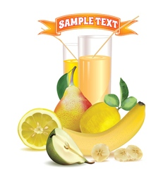 glasses with juice lemon banana and pear vector image vector image