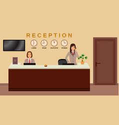 hotel reception service business office desk vector image