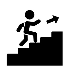 Man on Stairs Going Up Icon vector image
