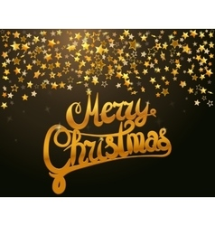Merry Christmas lettering and stars vector image vector image