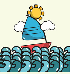 Sailing boat in the sea with sun and waves vector