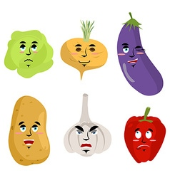Set of vegetables with emotions Cheesy Potatoes vector image
