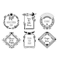 Tribal design frames with text vector image vector image