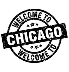 Welcome to chicago black stamp vector