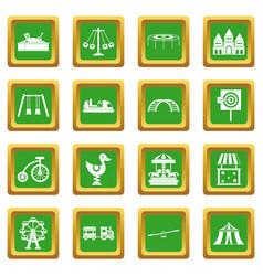 amusement park icons set green vector image vector image