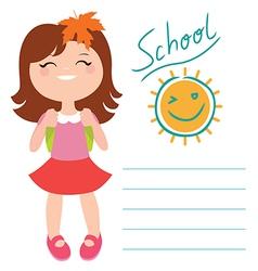 Card with schoolgirl vector image
