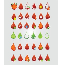 colored creative blood medic drops sign vector image vector image