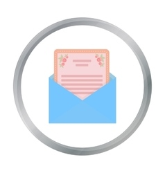 Envelope with invitation card icon in cartoon vector image