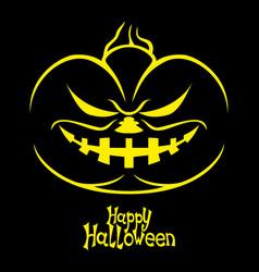 halloween pumpkin on a black background vector image vector image