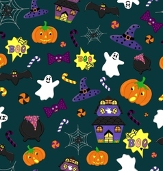 Halloween seamless pattern with festive elements vector image