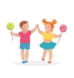 little children boy and girl holding hands vector image