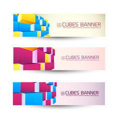 rows of cubes banners set vector image vector image